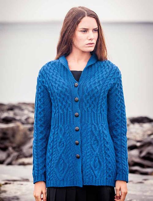Merino Shawl Neck Cardigan - Blue Marl ba131459e