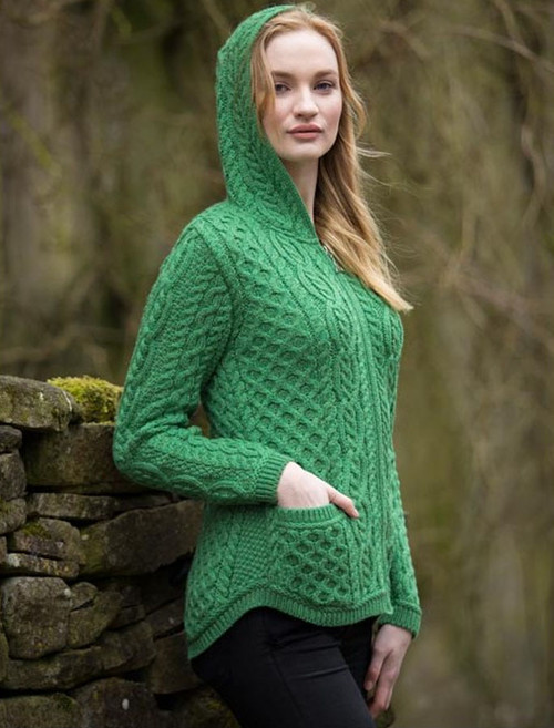 f6d3435cc Cable Knit Hoodie with Celtic Knot Zipper Pull