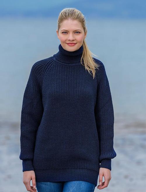 1d8c434247bf57 Women s Merino Ribbed Turtleneck Sweater - Navy