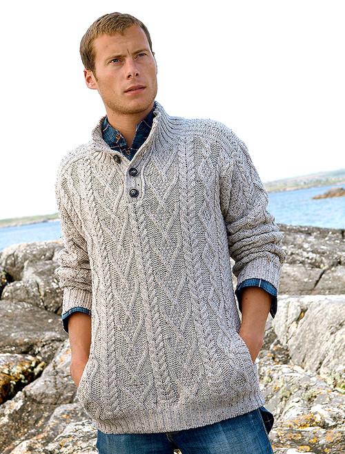 68157ffedf185e Buttoned Merino Wool Sweater - Oatmeal