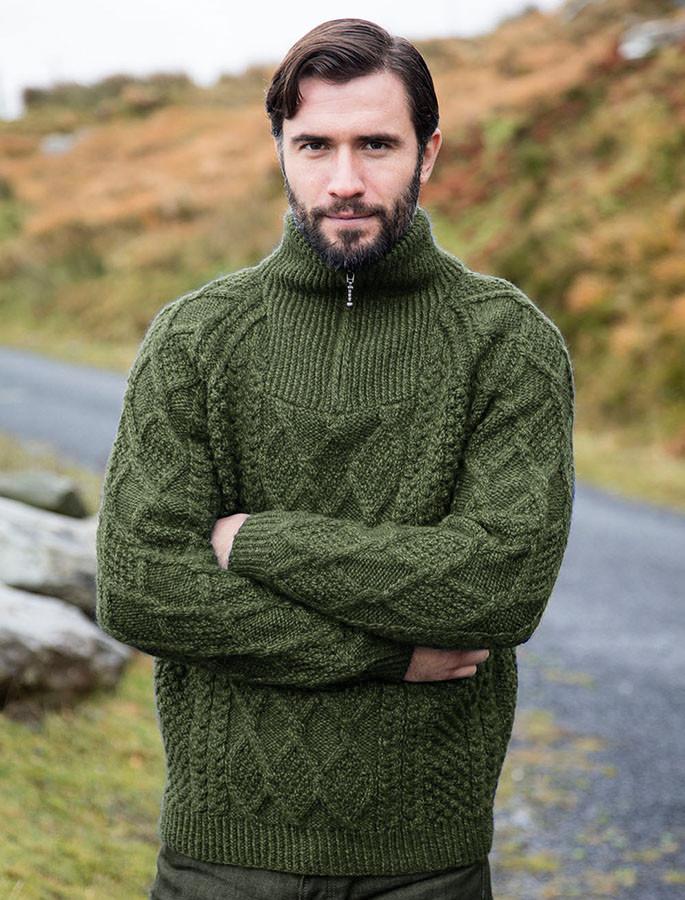 10465874eeb674 Mens Hand Knit Quarter Zip Sweater