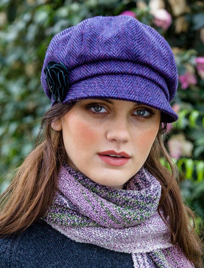3a4560770 Ladies Tweed Newsboy Hat - Dark Purple