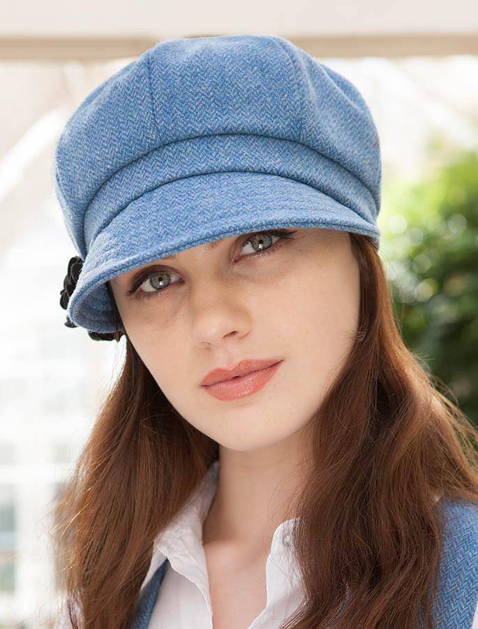 7ca39f05b6335 Ladies Tweed Newsboy Hat - Sky Blue