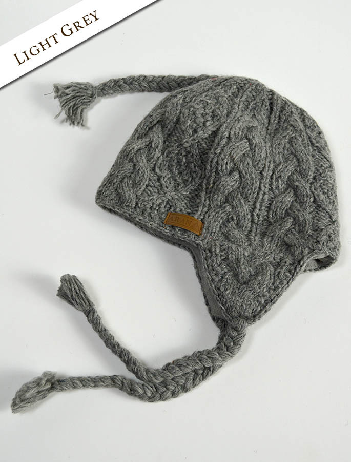 b8b6287f354 ... Aran Cable Fleece Lined Hat with Ear Flaps - Light Grey ...