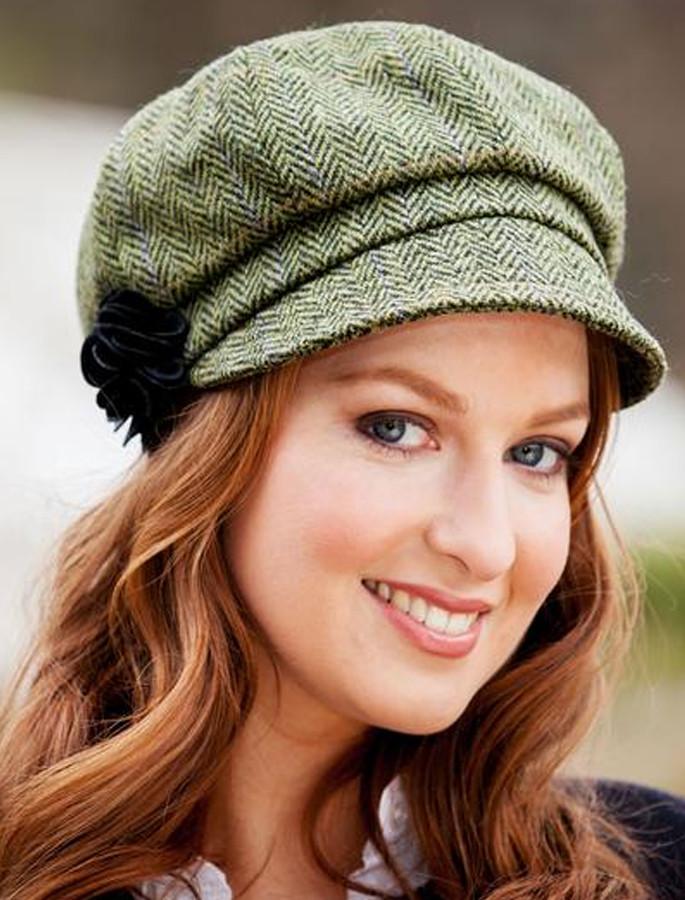 110a693b2f13c Ladies Tweed Newsboy Hat - Light Green Plaid