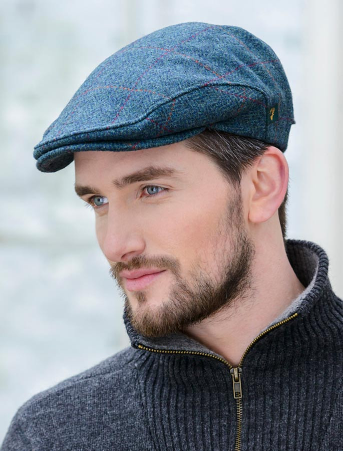 Trinity Tweed Flat Cap - Turquoise Plaid  a6487c07a4d