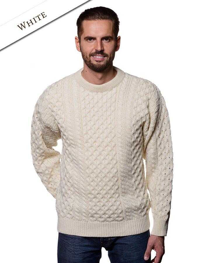Mens Heavyweight Aran Wool Sweater Glen Aran