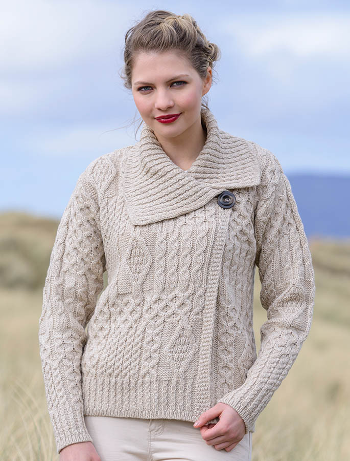 ... Aran Single Button Merino Cardigan - Parsnip ... 19f1b5773