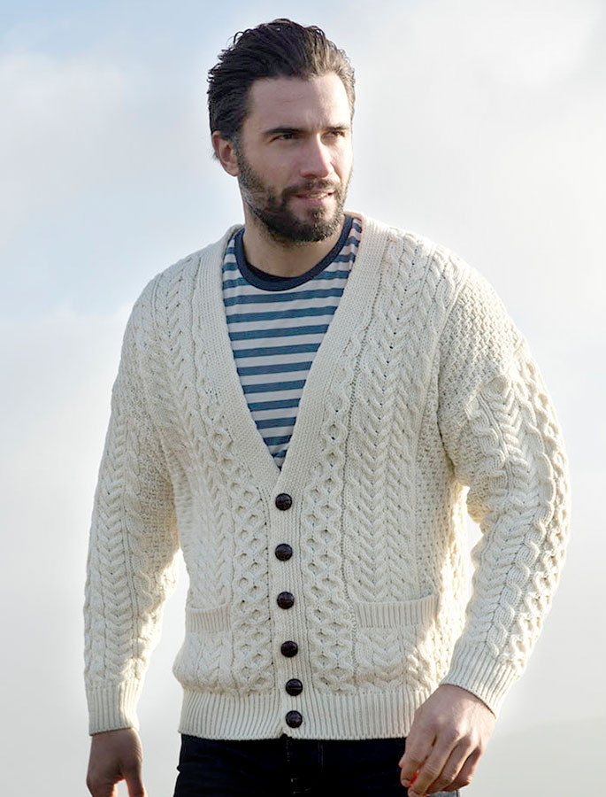 Merino Wool Aran Men s V-Neck Cardigan - Natural White 9a6fb4b66