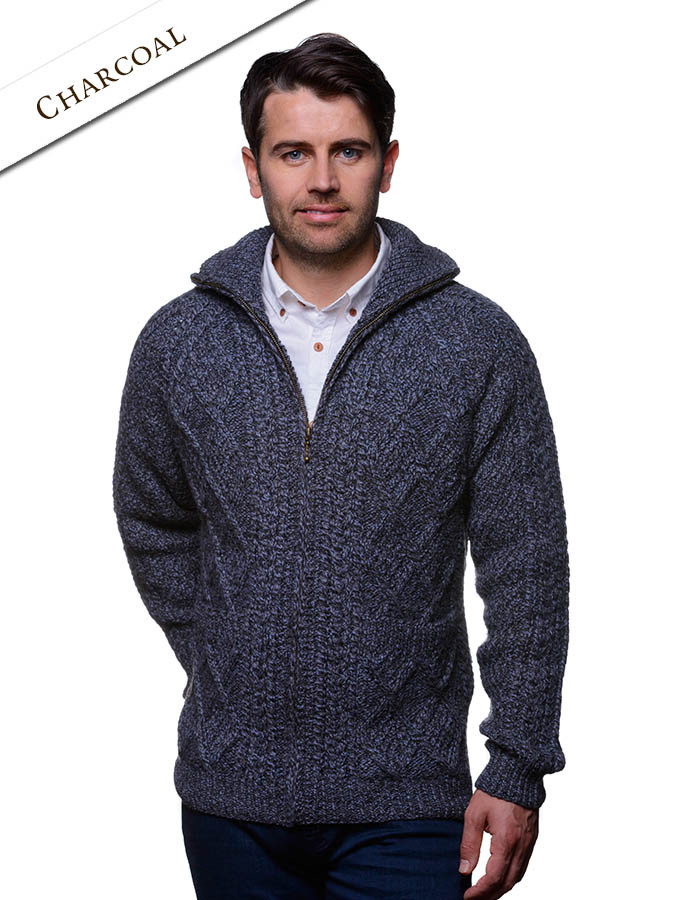 Hand Knit Zipper Cardigan with Pockets