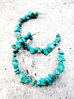 Hoop Earrings: Turquoise Stone