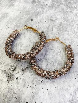 Hoop Earrings: Bronze Glitter