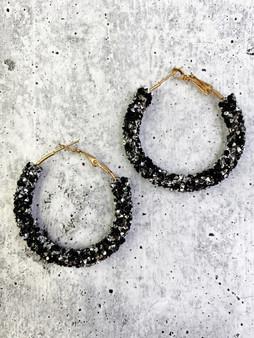 Hoop Earrings: Silver and Black Glitter