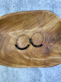 Hoop Earrings: Gold and Black Bead