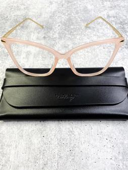 Flirty Blue Light Blocking Glasses: Pink and Gold