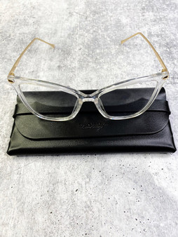 Flirty Blue Light Blocking Glasses: Clear and Gold