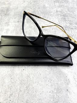 Flirty Blue Light Blocking Glasses: Black and Gold