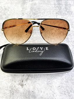 Aviators: Amber Lens and Gold Frame With Case
