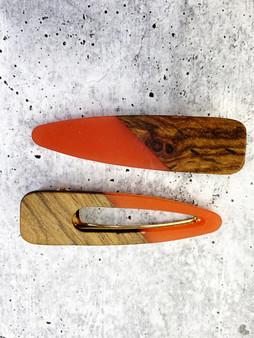 Mixed Magic: Wood and Coral Acrylic Hair Clip Set