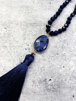 Long Tassel Necklace: Navy Beaded Silk Tassel