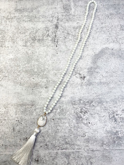 Long Tassel Necklace: White Beaded Silk Tassel