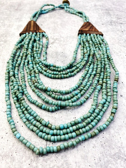 Multi Layer Bead Necklace: Turquoise