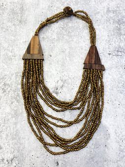 Multi Layer Bead Necklace: Bronze