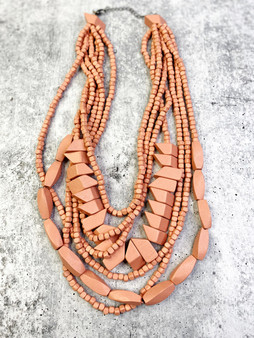 Multi Strand Necklace: Dusty Rose Wood Bead