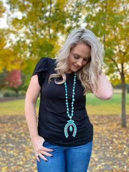 Long Rough Stone Turquoise Horseshoe Pendant Necklace