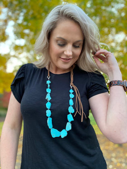 Rough Flat Stone Turquoise and Leather Necklace