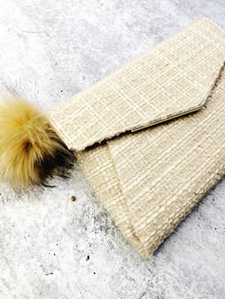 Tweed Faux Fur Pom Clutch: Cream