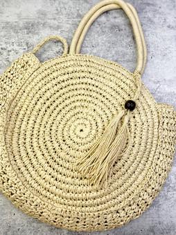 Crossbody Love Lindsey Tassel Woven Bag: Cream