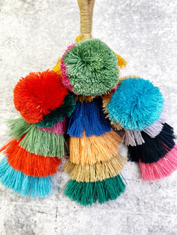 Pom Purse Charm Keychain: Multi Color
