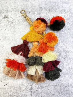Pom Purse Charm Keychain: Neutral Colors