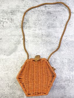 Wicker Orange Hexagon Purse with Faux Leather Braided Strap