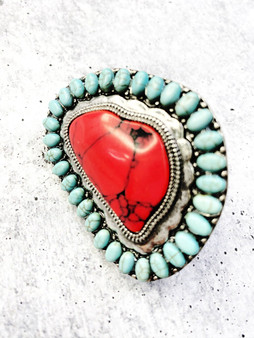 Adjustable Ring: Large Turquoise and Red Stone