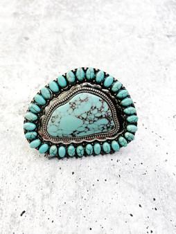 Adjustable Ring: Large Turquoise Stone