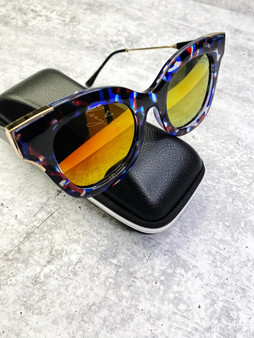 Love Lindsey Sunnies: Red & Blue Marble Frame and Warm Mirror Lens