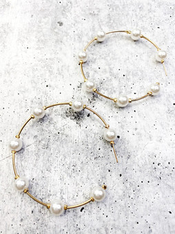 Hoop Earrings: Pearl and Gold
