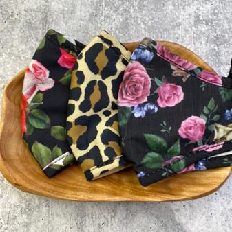 3  Pack Adjustable Mask Set: Leopard and Floral