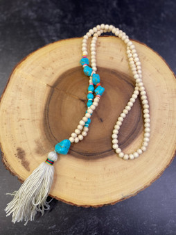 Cream and Turquoise Tassel Necklace