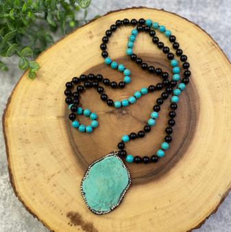Turquoise and Rhinestone Pendant Necklace