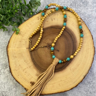 Natural Bead and Turquoise Long Tassle Necklace