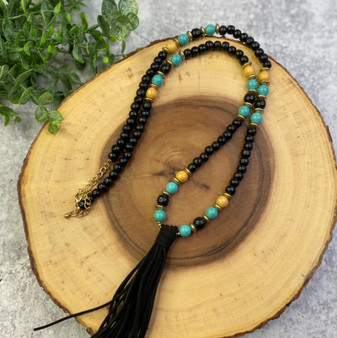 Black and Turquoise  Long Tassle Necklace
