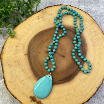 Teardrop Turquoise Bead Long Necklace