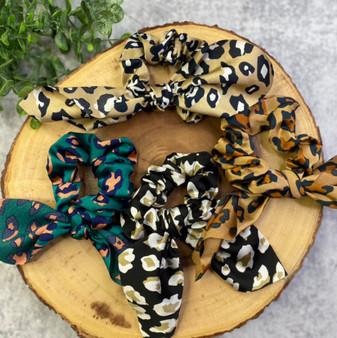 4 Pack Leopard Silk Tie Hair Scrunchie