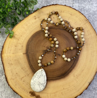 Neutral Teardrop Pendant and Long Bead Necklace
