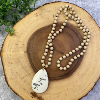 Cream Teardrop Pendant and Long Bead Necklace