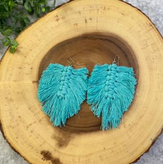 Turquoise Macrame Feather Earring