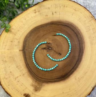Turquoise bead Hoops